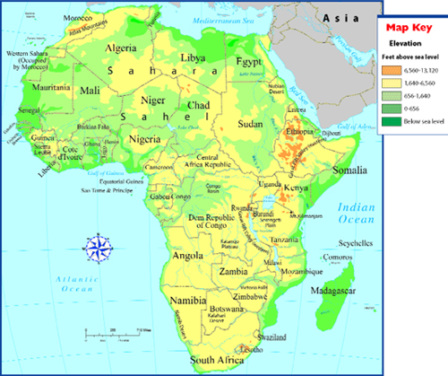 Eastern Africa Map Africa Physical Map With